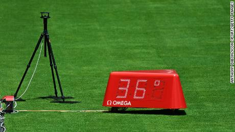 Picture shows high temperature on the pitch during the day five at Olympic Stadium on August 3.