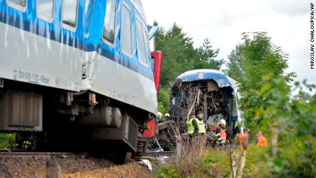 Both trains involved in the incident remained upright on or near the tracks.