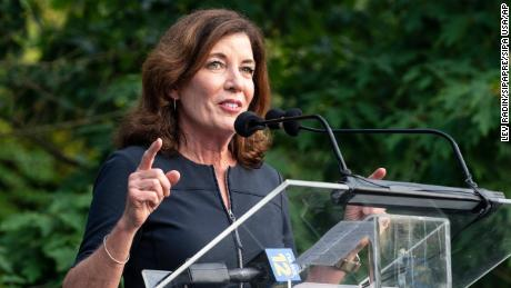 Lieutenant Governor Kathy Hochul speaks at Jewish Community Center of Mid-Westchester in Scarsdale, New York on June 7, 2021.