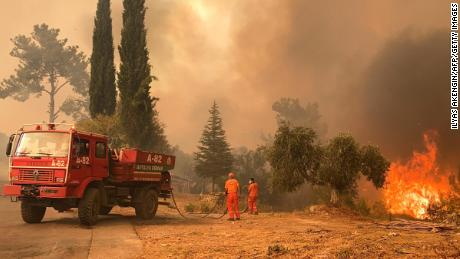 A firefighter battles with fire during a massive wildfire which engulfed a Mediterranean resort region on Turkey's southern coast near the town of Manavgat, on July 29.