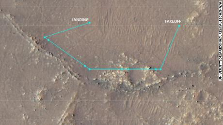 This image shows Ingenuity's complex tenth flight path from July 24.