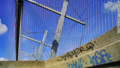 The Luminous Veil, seen here in 2004, provides a physical barrier at the Bloor Street Viaduct in Toronto.