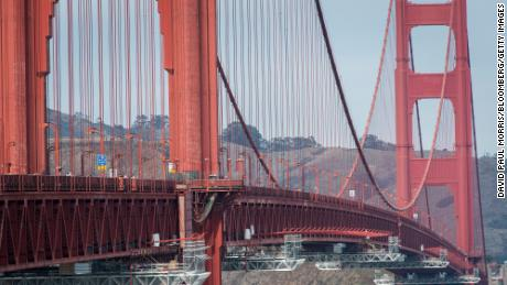 Scaffolding used for installing a suicide net is seen on the Golden Gate Bridge in San Francisco in 2019.