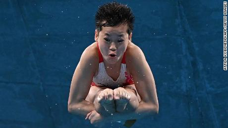 China's Quan Hongchan competes in the women's 10m platform diving final during the Tokyo Olympic Games on August 5.
