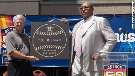 Houston Astros television commentator Bill Brown and former Astros All-Star pitcher J.R. Richard, who was officially inducted into the Astros Walk of Fame in 2012.