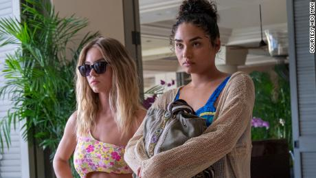 """(From left) Sydney Sweeney and Brittany O'Grady star in """"The White Lotus"""" on HBO Max."""
