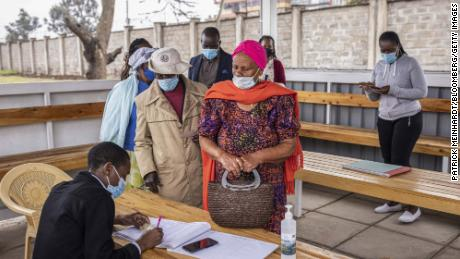 People register for a Covid-19 vaccine at a Nairobi hospital. Less than 2% of Kenya's population is fully vaccinated, and the country is struggling to get more doses.