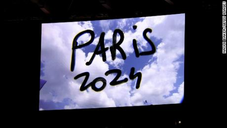 The presentation for Paris 2024 is seen during the Closing Ceremony of the Tokyo 2020 Olympic Games at the Olympic Stadium in Tokyo.