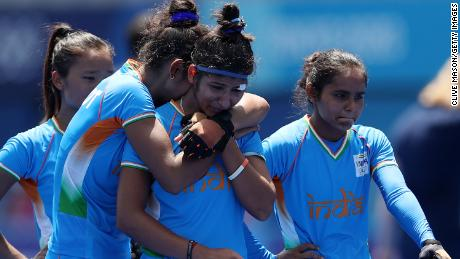 India's women hockey team after their loss in the bronze medal match against Great Britain.