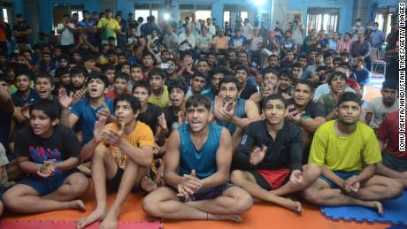 Young athletes in New Delhi are glued to the television as wrestler Ravi Kumar Dahiya takes home the bronze medal in his in weight category in Tokyo.