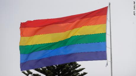 A rainbow flag flies over the Castro District in San Francisco, Saturday, June 27, 2020. (AP Photo/Jeff Chiu)