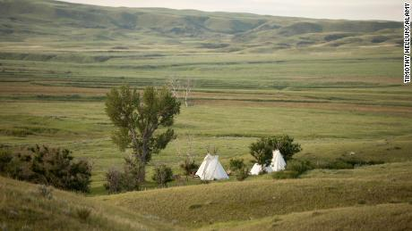 W6RC0R Teepees as rental accommodation in a small grove in the West Block of Grasslands National Park, in southern Saskatchewan.  Date taken: 8 July 2019  Contributor: Timothy Hellum / Alamy Stock Photo  Location: Saskatchewan, Canada