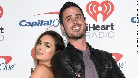 (From left) Ashley Iaconetti and Ben Higgins attend the 2017 iHeartRadio Music Festival at T-Mobile Arena in Las Vegas, September 22, 2017.