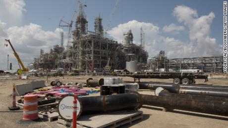 """ExxonMobil Corp. and Saudi Basic Industries Corp. (Sabic) Gulf Coast Growth Ventures petrochemical complex under construction in Gregory, Texas, on July 28, 2021. The Gulf Coast Growth Ventures petrochemical complex will be the world's largest steam cracker and create $50 billion of """"economic output"""" in the first six years, the companies said in a joint statement."""