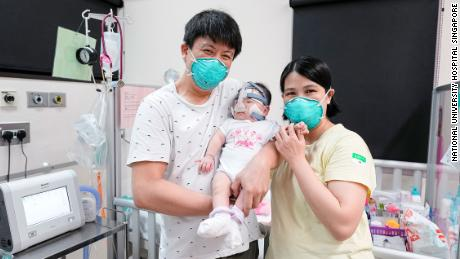 The baby's parents thanked staff at the hospital after her discharge.