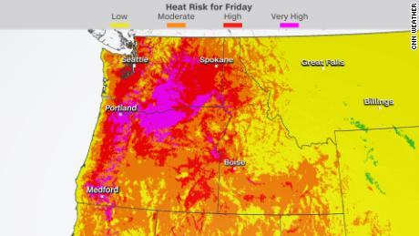 A very high risk (magenta color) is issued when the entire population is due for long-duration heat, with little to no relief overnight.
