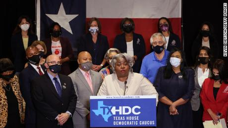 Texas State Rep. Barbara Gervin-Hawkins (D-120), joined by fellow Democratic Texas state representatives, speaks at a press conference on Texas Gov. Greg Abbott and the group's meetings with federal lawmakers on voting rights, on July 20, 2021 in Washington, DC.