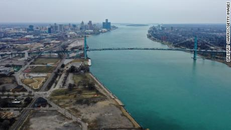 Aerial drone view of the Ambassador Bridge that connects Detroit and Windsor, Canada on March 18, 2020 in Detroit, Michigan. Communities like Detroit would be eligible for the grant.