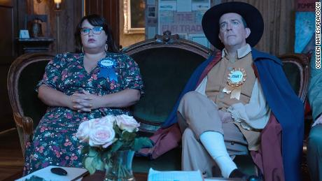 """Reagan Wells (Jana Schmieding) and Nathan Rutherford (Ed Helms) -- the two friends at the center of """"Rutherford Falls."""""""