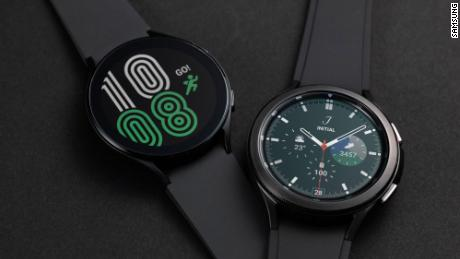 The Samsung Galaxy Watch4, left, and Galaxy Watch4 Classic, right.