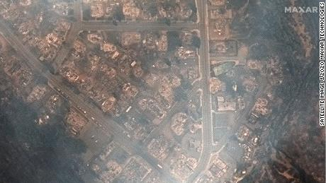 New before and after imagery shows a California town largely reduced to ash