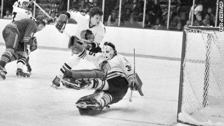 Chicago Blackhawks goalie Tony Esposito stops a Buffalo Sabres shot during a game in Chicago on December 19, 1973.