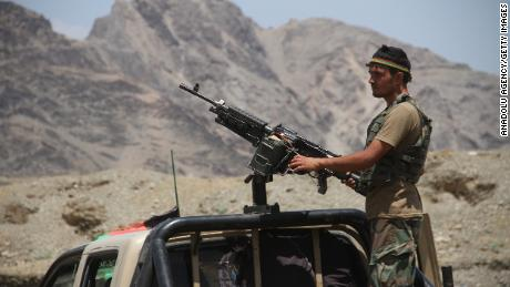 Afghan security forces are seen in the fight against the Taliban near the Torkham border point between Afghanistan and Pakistan in Nangarhar province on July 23, 2021.