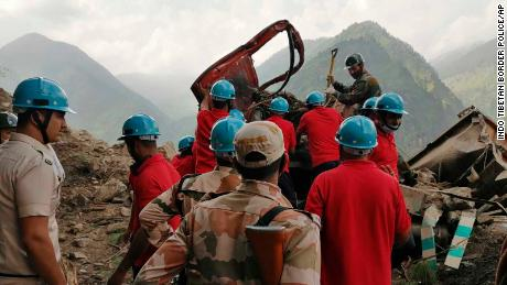 A rescue operation at the site of a landslide in Kinnaur district in the northern Indian state of Himachal Pradesh on August 11.