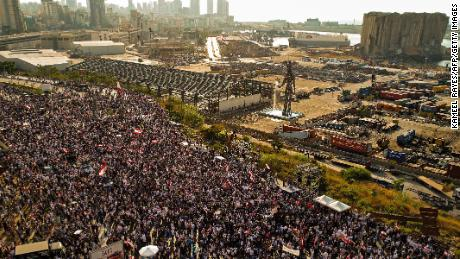An aerial view of demonstrators gathered on August 4, 2021 -- the first anniversary of the blast that ravaged Beirut's port.