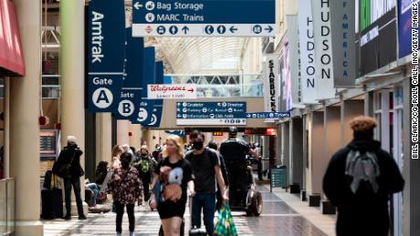 Amtrak passengers walk through Union Station in Washington on Tuesday, June 1, 2021.