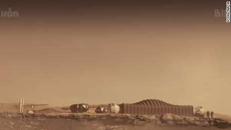 This is a rendering of the Mars Dune Alpha module as it would appear on the red planet.