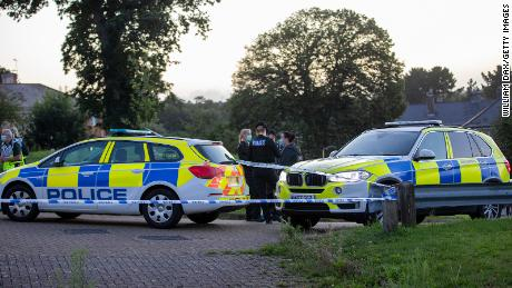 Police at the scene of a shooting Thursday in Plymouth, England.