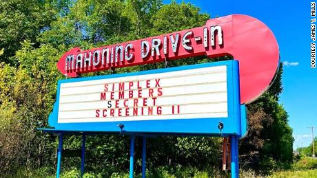 The Mahoning Drive-In Theater entrance in Leighton, Pennsylvania.