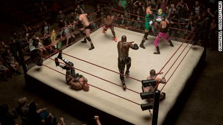 A battle royale from the new Starz wrestling drama 'Heels.'