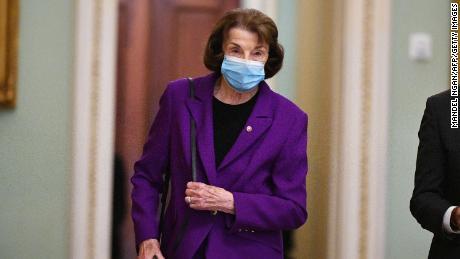 US Sen. Dianne Feinstein, Democrat of California, makes her way to the Senate chamber earlier this week.