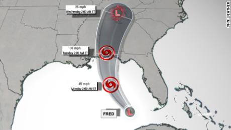 The forecast track of Fred on Sunday morning showing the system regaining tropical storm strength over the Gulf of Mexico.