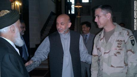 Amerine with Karzai and Rabbani in 2004.