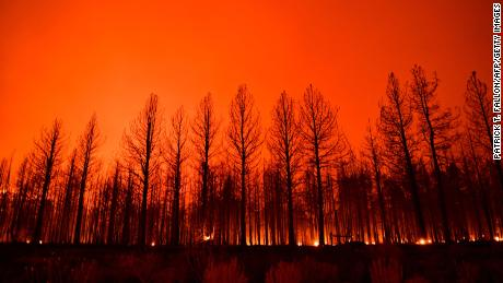 The Dixie Fire caused the night sky to glow over California in this image from August.
