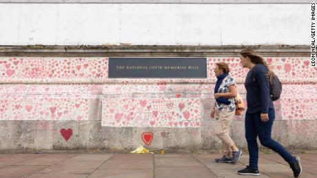 A London memorial to people who have died from Covid-19 in the UK.