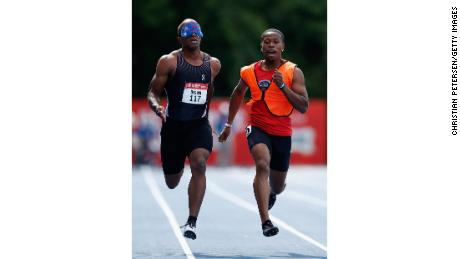 Brown and guide Moray Stewart compete in the US Paralympic Trials in Minneapolis on June 19.