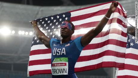 Brown celebrates winning the men's 100m T11 final at the Rio Paralympics.