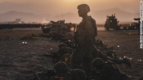 U.S. Army Soldiers assigned to the 10th Mountain Division stand security at Hamid Karzai International Airport, Kabul, Afghanistan, August 15.