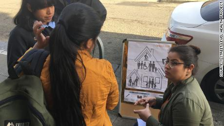 Samantha Vazquez, a wellness and prevention manager at Street Level Health Project in Oakland, California, addresses members of the Mayan Mam community about the importance of the 2020 census during an outdoors workshop in May 2020.