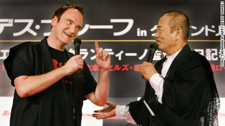 Quentin Tarantino (left) sang Chiba's praises in his films.