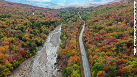 Colorful fall foliage on display at the White Mountain National Forest in New Hampshire in October 2020.
