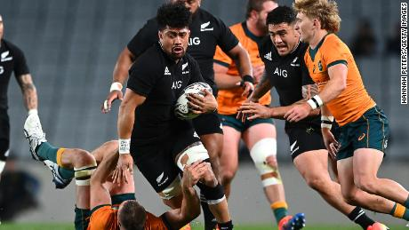 Ardie Savea of the All Blacks is tackled during The Rugby Championship and Bledisloe Cup match against the Wallabies.