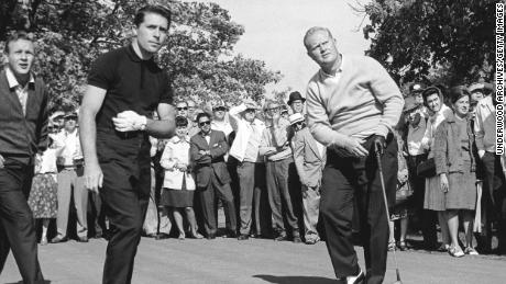 Palmer and Player follow the flight of Nicklaus' tee shot at the Firestone Country Club, Akron, Ohio in 1965.