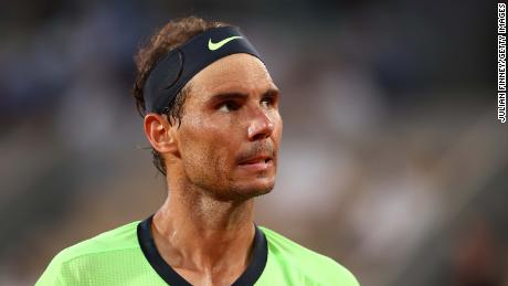 Nadal looks on during his men's semifinal against Novak Djokovic at the 2021 French Open.