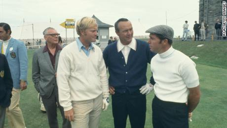Nicklaus, Palmer and Player are pictured at the Open Championship in 1970 at St. Andrew's.