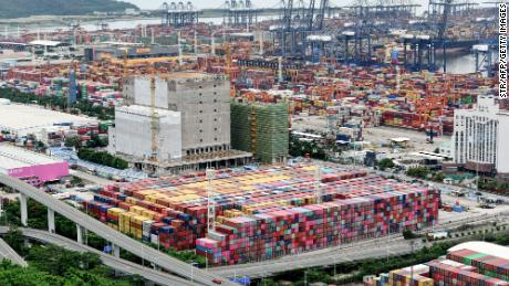 Cargo containers stacked at Yantian port on June 22 in Shenzhen, China.